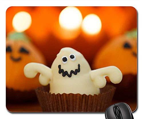 Mouse Pads - Sweet Ghost Food Halloween Dessert Holiday Orange -