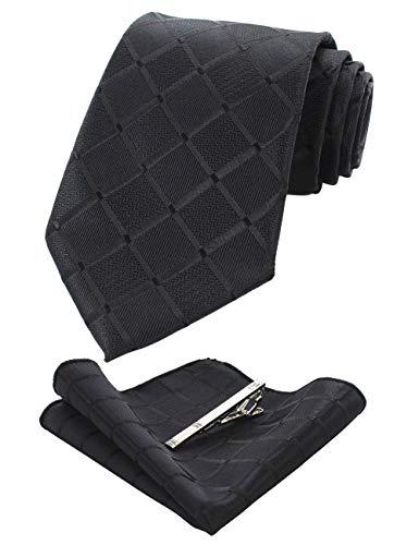 JEMYGINS Plaid Black Tie and Pocket Square Hankerchief Mens Silk Necktie with Tie Clip Sets(2)