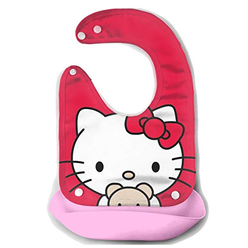 Baby Bib Hello Kitty in Red Tiny Waterproof Feeding Bibs for Babies and Toddlers with Comfort-Fit Fabric Neck ()