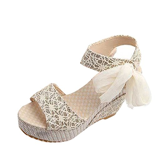 Gaorui-Lazos Sandalias Elegante con Tacón Alto y Plataforma de Moda con Diseño de Encaje Beige
