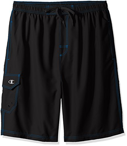 Champion Men's Big and Tall Solid Swim Trunk, Black, 6X