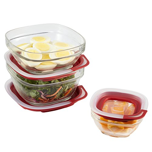 - Rubbermaid 2856010 Food Container Set, Glass, 6Piece, Red