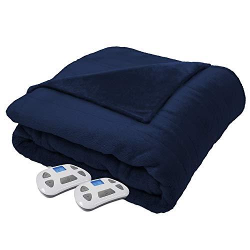 Hebel Heated Electric Silky Plush Blanket with Programmable Digital Controller, Queen, Navy Model 0917 | Model BLNKT - 15 | 7Queen