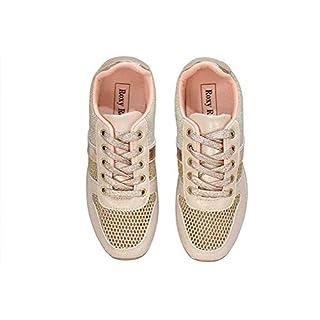 ROXY ROSE Women's Platform Sneakers Breathable Flyknit Glitter Mesh Non-Slip Walking Shoes (9 B(M) US, Rose Gold)