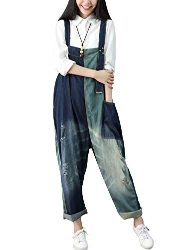 Yeokou Women's Loose Baggy Denim Wide Leg Drop Crotch Jumpsuit Rompers Overalls (One Size, Style 28 Blue) ()