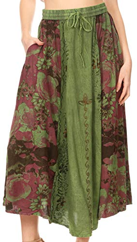 (Sakkas 1827 - Maran Women's Boho Embroidery Skirt with Lace Elastic Waist and Pockets - Sage Green - OSP)