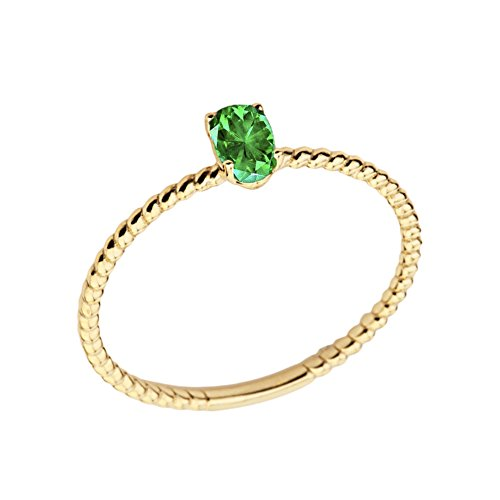(Dainty 14k Yellow Gold Stackable Oval-Shaped Emerald Rope Engagement/Promise Ring (Size 5))