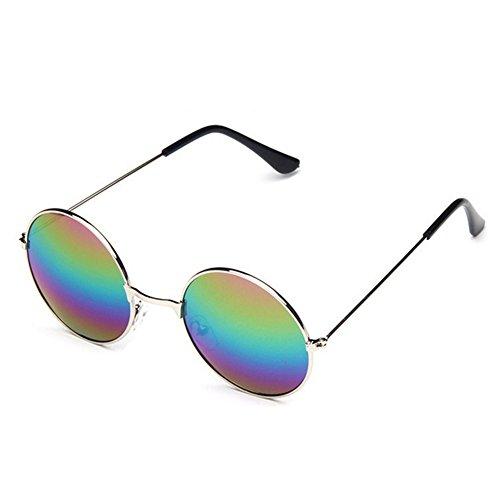 Yuntun Europe Retro Sunglasses Round Reflective Glasses(D6)