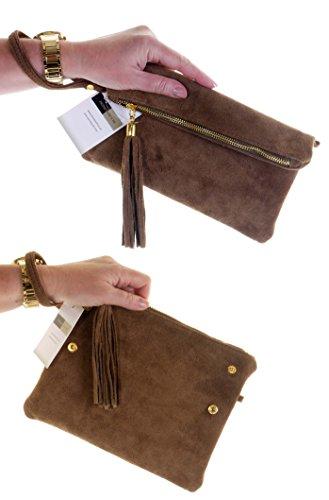 daim ou italien sac Pli nbsp;Comprend à poignet un embrayage main fait marque Foncé Beige de sac bandoulière cuir protecteur rangement OAtE0