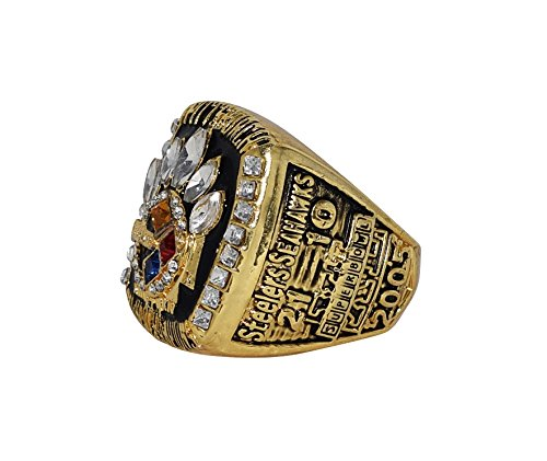 PITTSBURGH STEELERS (Cardale Jones) 2005 SUPER BOWL XL WORLD CHAMPIONS (Playing Vs. Seahawks) Collectible High Quality NFL Football Replica Gold Championship Ring with Cherrywood Display Box