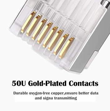 ShineBear ethernet Cable Connector rj45 Plug cat6 Network rj 45 8p8c Modular cat 6 terminals STP Shielded Gold Plated 50u Cable Length: 10pcs