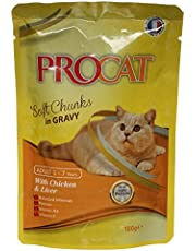 Procat Soft Chunks in Gravy with Chicken And Liver Cat Food Pouch, 100g