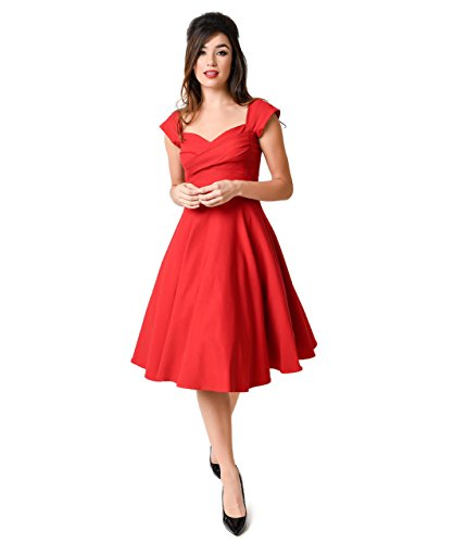 Stop Staring! Mad Style Red Cap Sleeve Swing Dress by Unique Vintage