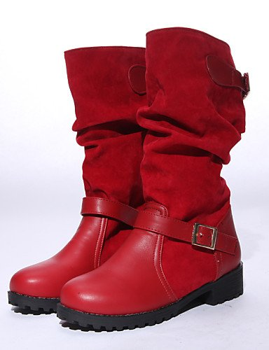 Rojo Zapatos Redonda La Eu40 Vestido Vellón Xzz Cn43 Negro us10 De Cn41 Marrón 5 5 Brown Moda us9 Uk8 Uk7 Tacón Uk8 A Black Mujer Robusto Botas Semicuero Eu42 Punta aqAdzYAn