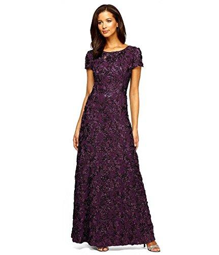 Alex Evenings Women's Petite Long a-Line Rosette Dress, Eggplant, 10P