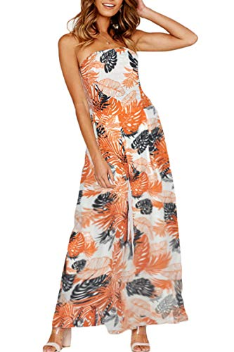 QINSEN Women Summer Beachwear Dress Printed Strapless Jumpsuit Tie Knot Back Wide Leg Palazzo Rompers Orange S