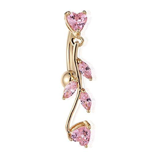 Filfeel Belly Button Rings, Leaves Shaped Anti-Allergy Copper Navel Ring Plating Body Piercing Jewelry (Gold Pink)