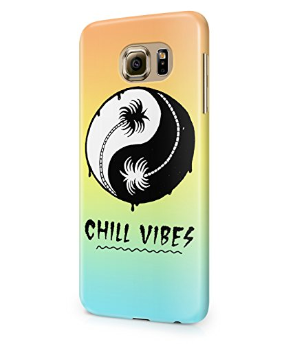 Chill Vibes Yin Yang Tumblr Summer Beach Ocean Sun And Palm Trees Plastic Snap-On coque case Cover Shell For Coque Samsung Galaxy S6