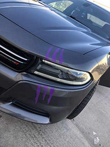ViaVinyl Claw Marks Headlight Decal Available in Nine Colors!. Genuine Brand Vinyl Sticker/Decal for Sports Cars (Purple Plum Crazy)