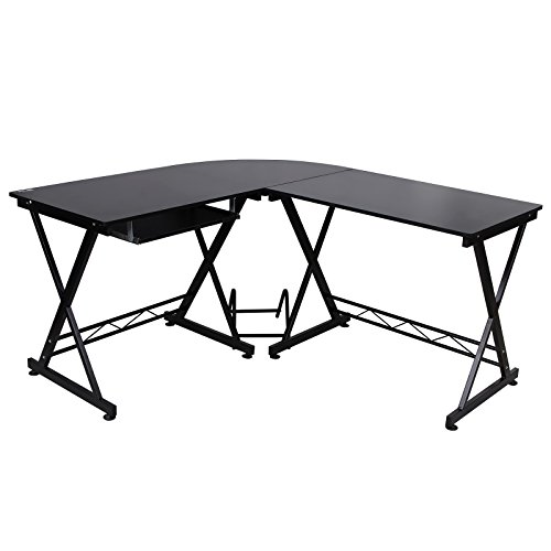 SONGMICS Corner Computer Desk L-Shaped Desk with Keyboard Tray and Mainframe Stand, Large Desk for Gaming,Workstation Easy Assembly, Black UOCD59BK by SONGMICS