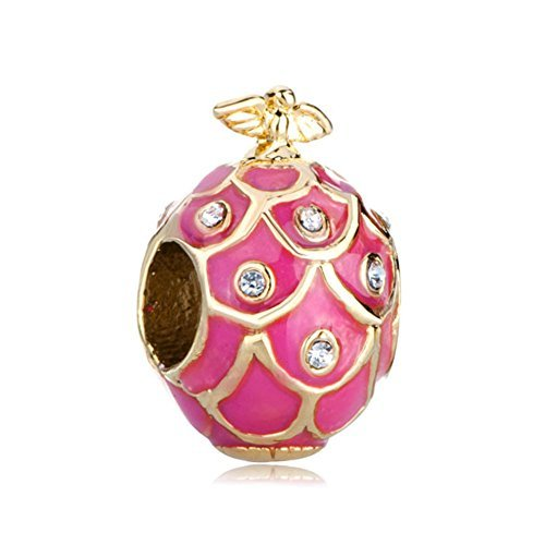 - LilyJewelry Pink Faberge Easter Egg Charm Beads For Bracelets