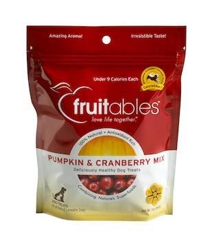 Fruitables Pumpkin and Cranberry Crunchy Dog Treats, 7oz Pouch (Pack of 6), My Pet Supplies