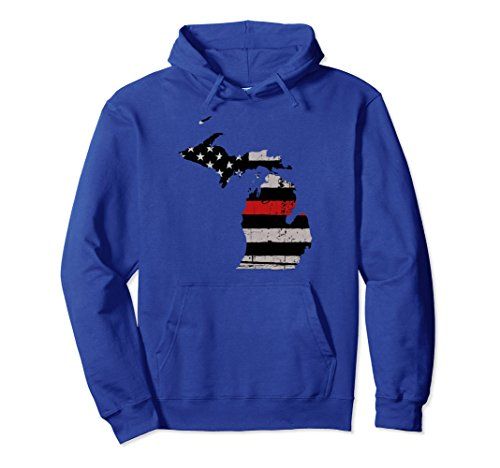 Unisex Firefighter Fireman Hoodie Red Thin Line USA Flag Michigan Medium Royal Blue