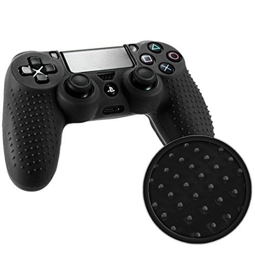 Playstation 4 STUDDED Controller Skin by Foamy Lizard ® ParticleGrip Premium Protective Anti-slip Silicone Grip Case Cover for PS4 Controller (Graviton - Black)