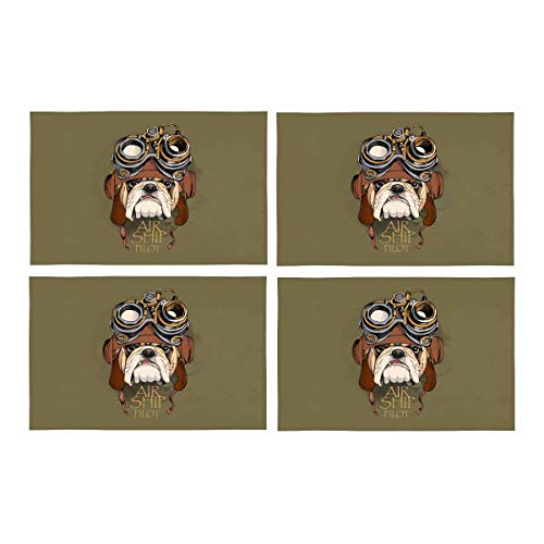 InterestPrint Hipster Bulldog in Steampunk Helmet Retro Animal Style Place Mats Heat-Resistant Placemats Stain Set of 4 Resistant Anti-Skid Washable Fabric Placemat Table Mats, - Retro Dog Placemat