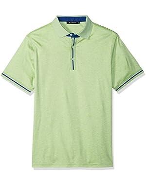 Men's Trim Fit Melange Cotton Solid Polo Shirt