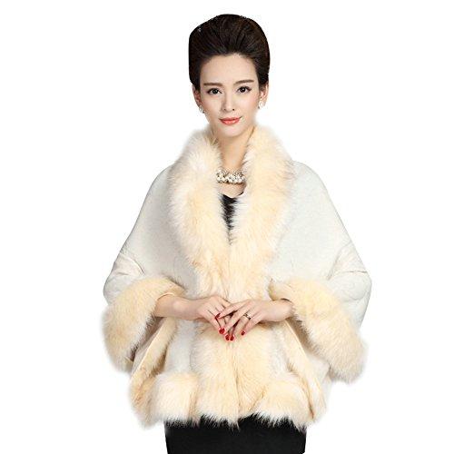 Dress Cashmere Womens (Elfjoy Luxury Bridal Faux Fur Cashmere Wool Shawl Cloak Cape Wedding Dress Party Coat for Winter (Beige))