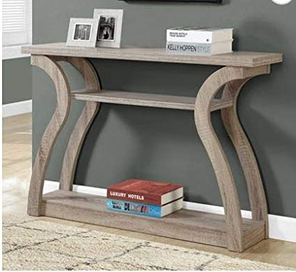 Amazon.com: Narrow Console Table  Entry Tables For Hallways  Dark Taupe  Wood Accent Curved Design Three Tier   Designed For Your Small Living  Space: Kitchen ...