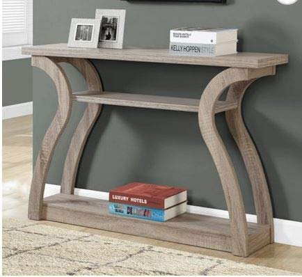 - Narrow Console Table- Entry Tables for Hallways- Dark Taupe Wood Accent Curved Design Three Tier - Designed for Your Small Living Space