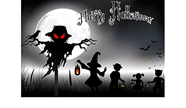 Leyiyi 12x8ft Halloween Photography Backdrops Horrible Stone Castle Terror Tree Witch Broom Bat Yellow Moon Background Dress-up Party Supplies Vinyl Photo Studio Booth Props