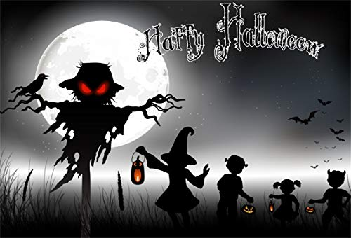 Leyiyi 10x6.5ft Cartoon Happy Halloween Backdrop Witch Kids Games Full Moon Night Ghost Graveyard Bare Trees Crow Bats Fly Photography Background Costume Carnival Photo Studio Prop Vinyl Banner