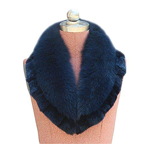 Gegefur Women's Real Fox Raccoon Fur Collar Scarf Wrap For winter (Dark blue)