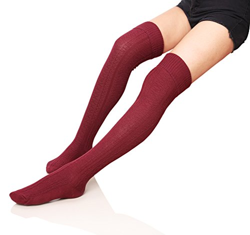 Velice Womens Winter Knit Wool Over the Knee Socks Leg Warmer Thigh High Socks (Wine red)  One Size