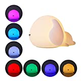 Cute Dog Night Light for Kids, UMIWE Soft Silicone Puppy Toddler Night Light, Nursery Bedside Lamp, Sensitive Tap Control with 7 Colors Changeable and 3 Mode Brightness