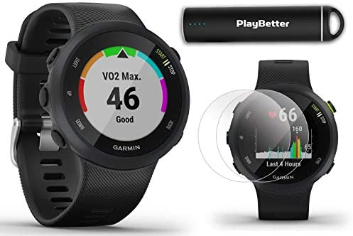 Garmin Forerunner 45 Black Running GPS Watch Power Bundle HD Screen Protectors PlayBetter Portable Charger Garmin Coach, Lightweight, Heart Rate, Body Battery, Intervals, Smart Notifications