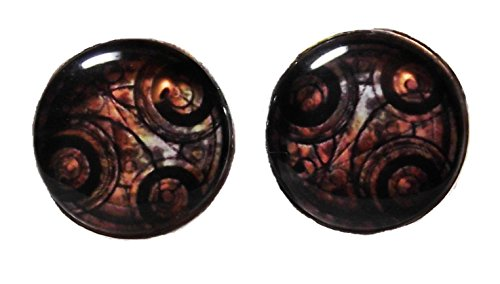 [Doctor Who TIME LORD Glass Dome Stud EARRINGS] (Matt Smith Costume)