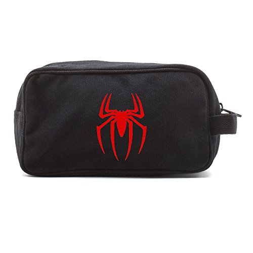 Spiderman Symbol Canvas Shower Kit Travel Toiletry Bag Case in Black & Red