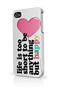 Be Happy Life Is Short White Quote iPhone 5 Case - Fits iPhone 5 Full Print Plastic Snap On Case wangjiang maoyi