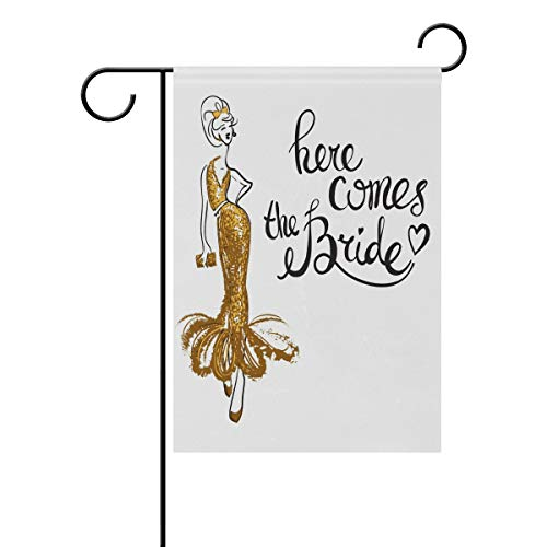 ZZAEO Here Comes The Bride Wedding Large Garden Flag Vertical Polyester Double-Sided Printed Home Outdoor Yard Holiday Decor-28 x 40 inch