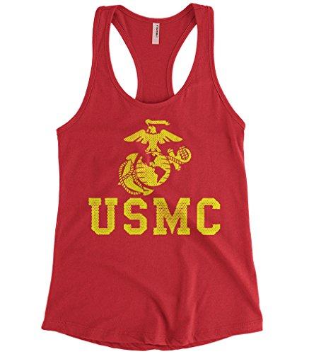 Cybertela Women's United States Marine Corps USMC Racerback Tank Top (Red, Medium)