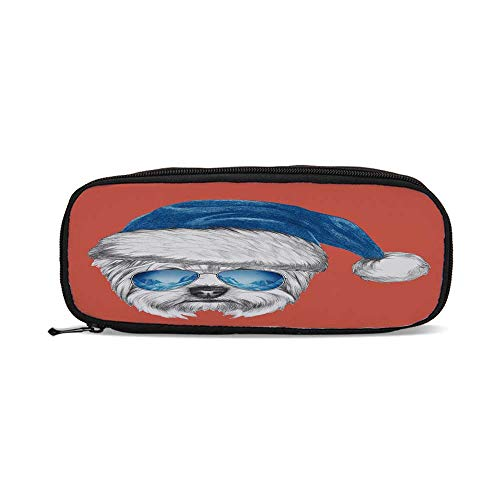 Yorkie,Terrier with a Blue Santa Hat and Mirror Aviator Glasses Fun Hand Drawn Animal Decorative,9.4