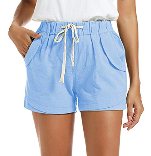 NEWFANGLE Women's Cotton Linen Causal Shorts Comfy Beach Short Drawstring Elastic Waist Shorts,Navy Blue,XXL