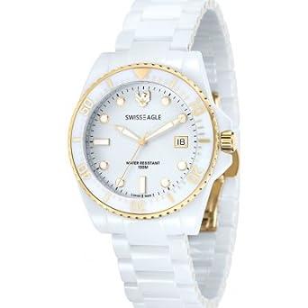 Swiss Eagle – se-9051 – 22 – GLACIER – Armbanduhr – Quarz Analog – Zifferblatt weiß Armband Keramik weiß