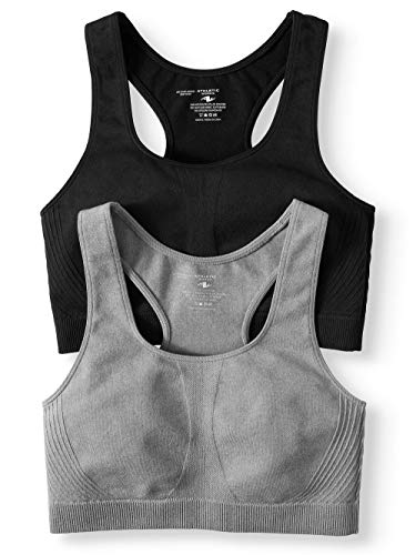 (Athletic Works Womens Seamless Racerback Sportsbra, 2 Pack, Black/Grey,)