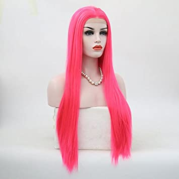 HYISHION Peluca Wig,Blonde 2 Colores Hair Mujer, Pelo Sintético Lace Front Wigs,