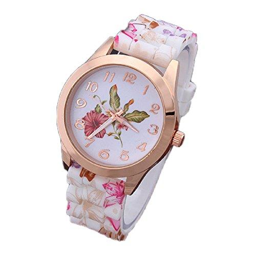 SMTSMT Women Girls' Printed Flower Causal Wrist Watch-Pink
